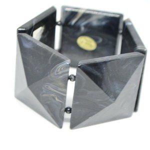 Black White Marbled Acrylic Large Square Bracelet